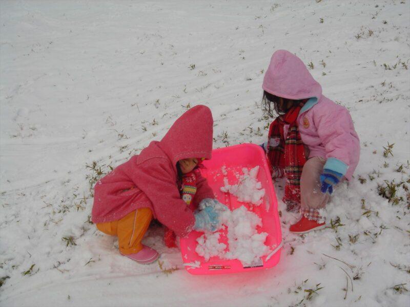 基山で雪遊び カナ チカ