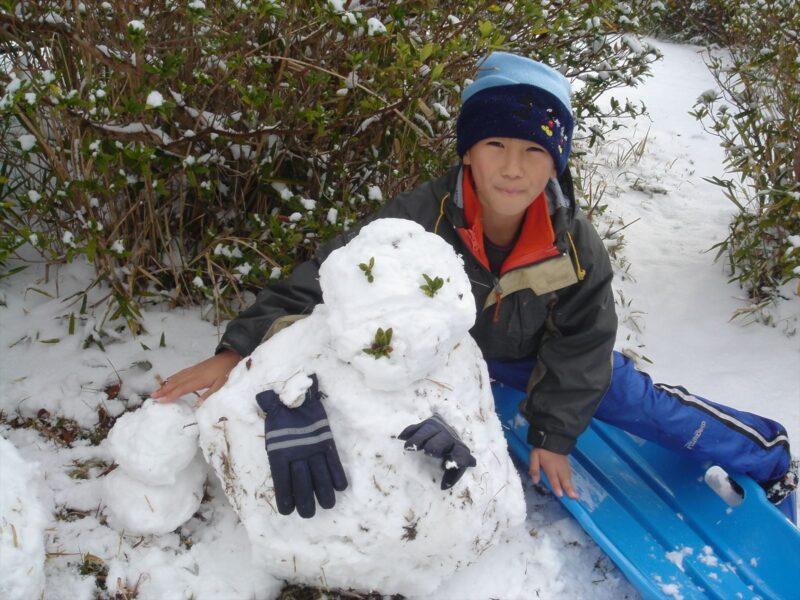 基山で雪ダルマ ダイキ