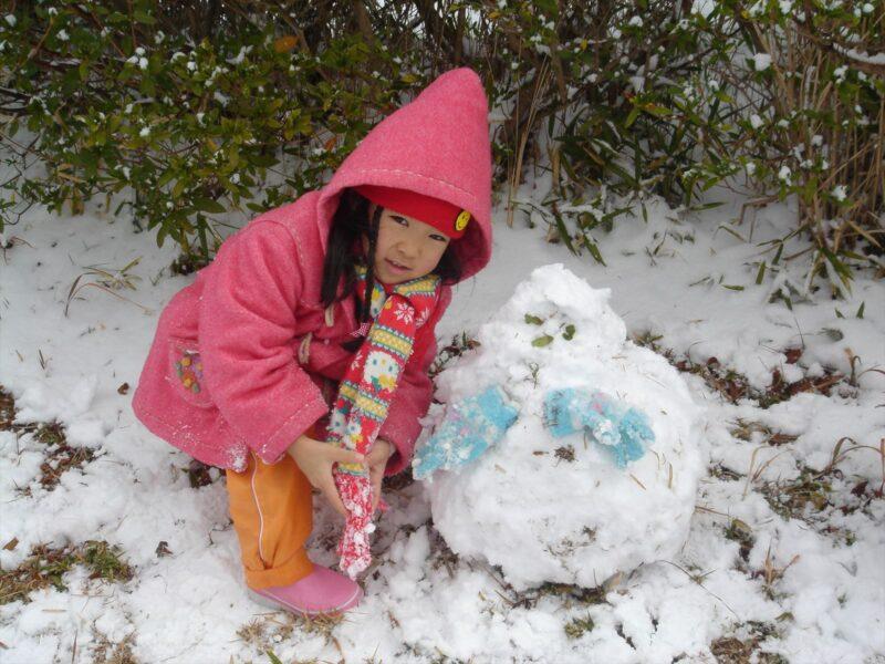 基山で雪ダルマ カナ